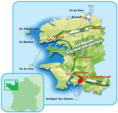 Bretagne Localisation la Foret fouesnant